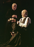 Don Juan Manuel Montenegro (right) played by Mark Lambert, his son Don Farraquino (Owen Sharpe) and Don Manuelito, the Chaplain (Derry Power) in a scene from the Abbey Theatre of Dublin's production of the Barbaric Comedies by Ramon del Valle-Inclan which is being staged at the King's Theatre as part of the Edinburgh International Festival.