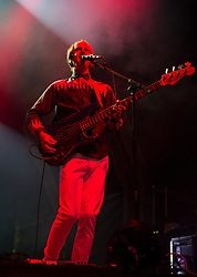 Jimmy Dixon of Django Django performs on stage on day 1 of Standon Calling Festival on July 27, 2018 in Standon, England. Picture date: Friday 27 July, 2018. Photo credit: Katja Ogrin/ EMPICS Entertainment.