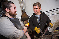 Murray Carter and Noah DePietro at the forge, Carter Cutlery