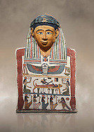 Ancient Egyptian cartonnage mummy mask with mummification scene, Pyolemaic Period, (332-30BC),  Egyptian Museum, Turin. Cat 2250. .<br /> <br /> If you prefer to buy from our ALAMY PHOTO LIBRARY  Collection visit : https://www.alamy.com/portfolio/paul-williams-funkystock/ancient-egyptian-art-artefacts.html  . Type -   Turin   - into the LOWER SEARCH WITHIN GALLERY box. Refine search by adding background colour, subject etc<br /> <br /> Visit our ANCIENT WORLD PHOTO COLLECTIONS for more photos to download or buy as wall art prints https://funkystock.photoshelter.com/gallery-collection/Ancient-World-Art-Antiquities-Historic-Sites-Pictures-Images-of/C00006u26yqSkDOM