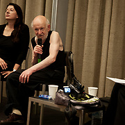 """Gustav Metzger and Marina Abramovic in conversation with Hans Ulrich Obrist following the opening of """"Flailing Trees"""" in Manchester, - a sculpture by Gustav Metzger.<br /> Manchester Art Festival 2009<br /> 21 willow trees has been up-rooted and put upside down into concrete.<br /> The piece will be on show in the Peace Garden by Manchester Town Hall throughout the Manchester Art Festival 2009 and will then be moved to the  Whitworth Gallery, Manchester."""