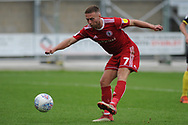 Accrington Stanley Midfielder, Jordan Clark (7) shoots  during the EFL Sky Bet League 1 match between Accrington Stanley and Scunthorpe United at the Fraser Eagle Stadium, Accrington, England on 1 September 2018.