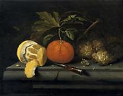 Fruit  on a Stone Table'.Still life. Johannes Borman (active 1653-1659) Dutch painter.  Oil on panel.