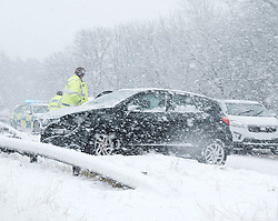 Heavy Snowfall in West Lothian, Wednesday, 4th April 2018<br /> <br /> More heavy snow fell in West Lothian this afternoon causing traffic problems for drivers.<br /> <br /> An accident on the A899 in Livingston caused long tailbacks heading north<br /> <br /> Alex Todd | EEm