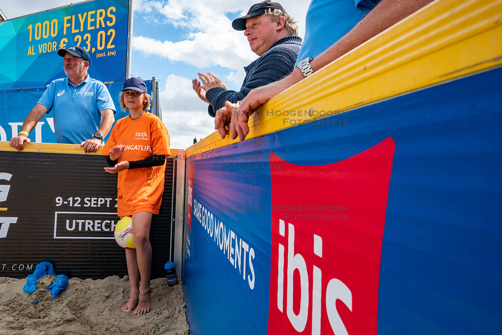 Ball crew in action during the final. The Final Day of the DELA NK Beach volleyball for men and women will be played in The Hague Beach Stadium on the beach of Scheveningen on 23 July 2020 in Zaandam.