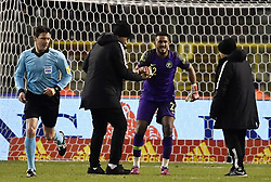 March 27, 2018 - Brussels, BELGIUM - Referee Slovenian Matej Jug and Saudi Arabia's goalkeeper Fawaz Al-Qarni pictured at a friendly game between the Red Devils Belgian National soccer team and Saudi Arabia, in Brussels, Tuesday 27 March 2018. BELGA PHOTO DIRK WAEM (Credit Image: © Dirk Waem/Belga via ZUMA Press)