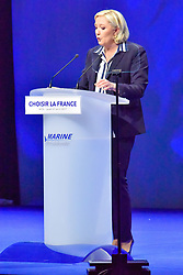 April 28, 2017 - Nice, Provence-Alpes-Cote-D-Azur, France - MARINE LE PEN, CANDIDATE A L'ELECTION PRESIDENTIELLE DE 2017, FAIT SON PREMIER GRAND MEETING DE L'ENTRE DEUX TOURS AU PALAIS NIKAIA A NICE, FRANCE, LE JEUDI 27 AVRIL 2017. (Credit Image: © Visual via ZUMA Press)