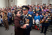 Russian World War II veterans celebrate Victory Day in the Bolshoi Gardens in Moscow, Russia.