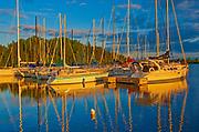 Sailboats at sunset, Parc national de la Pointe-Taillon, Quebec, Canada