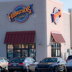 Mount Joy, PA / USA - February 23, 2020: Fuddruckers Greatest Hamburgers restaurant is a chain with over 150 locations.
