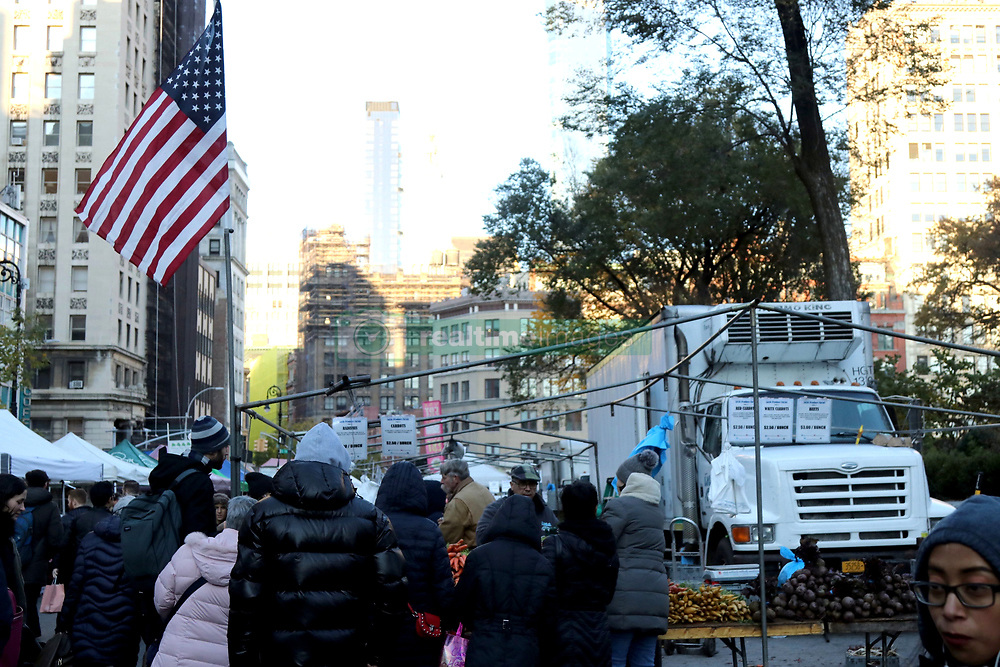 November 10, 2018 - New York City, New York, US - The Union Square Green Market, in operation since nineteen-seventy-six is an open air framers market and is one of 50 farmer's markets in New York City. It is opened year round, and dedicated to promote regional agriculture by providing small family farms the opportunity to sell their locally grown products directly to consumer. The market is opened on Monday, Wednesday, Friday and Saturdays from 8:00 am to 6:00 pm. (Credit Image: © G. Ronald Lopez/ZUMA Wire)