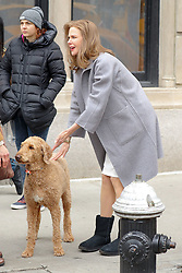 Nicole Kidman seen with a dog at the set in NYC. 12 Mar 2018 Pictured: Nicole Kidman. Photo credit: ZapatA/MEGA TheMegaAgency.com +1 888 505 6342