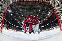 KELOWNA, BC - JANUARY 31: James Porter Jr. #31 and Lukáš Pařík #33 of the Spokane Chiefs stand in net after the win against the Kelowna Rockets at Prospera Place on January 31, 2020 in Kelowna, Canada. Pařík is a 2019 NHL entry draft pick of the Los Angeles Kings. (Photo by Marissa Baecker/Shoot the Breeze)