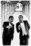 Old Etonions Danny and Henry Matouu (nephews of the deposed President of Uganda Godfrey Binaisa)© Copyright Photograph by Dafydd Jones 66 Stockwell Park Rd. London SW9 0DA Tel 020 7733 0108 www.dafjones.com
