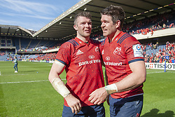 March 30, 2019 - Edinburgh, Scotland, United Kingdom - Peter O'Mahony and Billy Holland of Munster celebrate during the Heineken Champions Cup Quarter Final match between Edinburgh Rugby and Munster Rugby at Murrayfield Stadium in Edinburgh, Scotland, United Kingdom on March 30, 2019  (Credit Image: © Andrew Surma/NurPhoto via ZUMA Press)