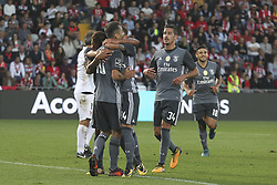 October 22, 2017 - Porto, Aves, Portugal - Benfica's Brazilian forward Jonas (L) celebrates after scoring goal with teammates during the Premier League 2017/18 match between CD Aves and SL Benfica, at Estadio do Clube Desportivo das Aves in Aves on October 22, 2017. (Credit Image: © Dpi/NurPhoto via ZUMA Press)