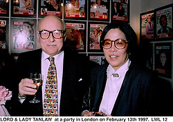 LORD & LADY TANLAW  at a party in London on February 13th 1997.LWL 12