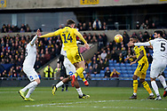 Josh Ruffels of Oxford United chips the ball towards goal during the EFL Sky Bet League 1 match between Oxford United and Peterborough United at the Kassam Stadium, Oxford, England on 16 February 2019.