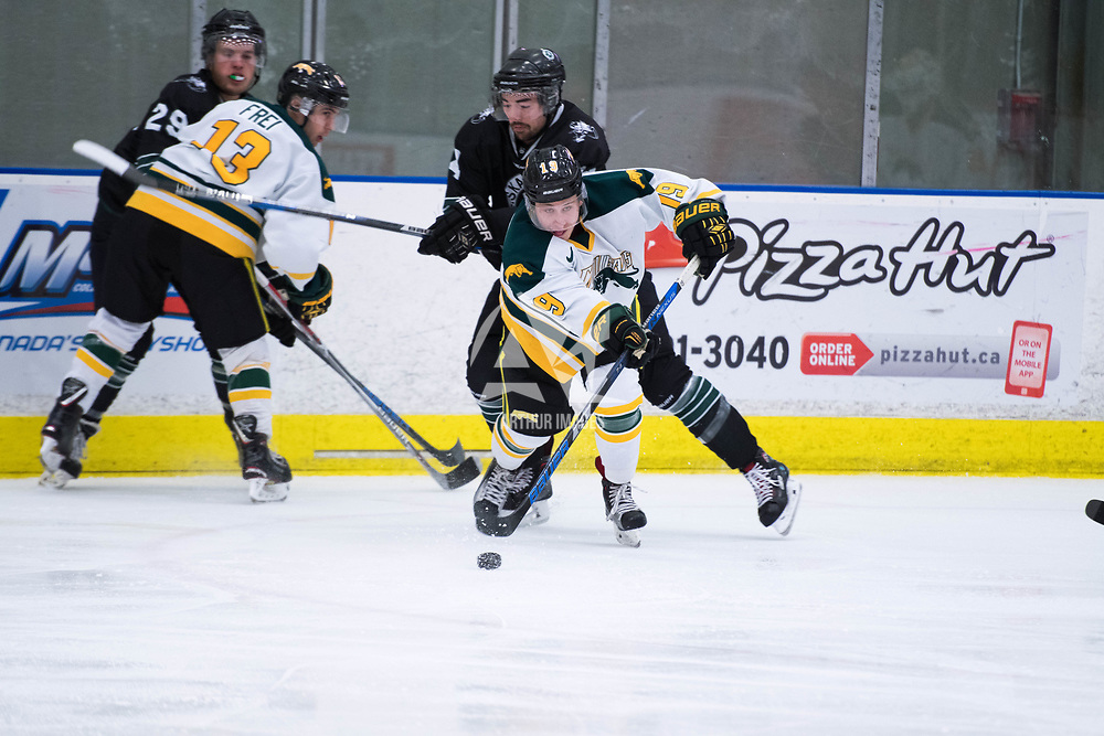 2nd year forward Gray Marr(19) of the Regina Cougars in action during the Men's Hockey Home Opener on October 6 at Co-operators arena. Credit: Arthur Ward/Arthur Images
