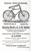 Advert for 'The Pilgrim by Warwick Cycle Mfg Co. Springfield, Mass' From Wheels and Wheeling; An indispensable handbook for cyclists, with over two hundred illustrations by Porter, Luther Henry. Published in Boston in 1892