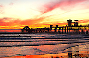 Low Tide at Oceanside Pier During Sunset