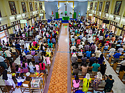 19 NOVEMBER 2017 - HWAMBI, YANGON REGION, MYANMAR: People pray during mass at Sacred Heart's Catholic Church in Hwambi, about 90 minutes north of Yangon. Catholics in Myanmar are preparing for the visit of Pope Francis. He is coming to the Buddhist majority country November 27-30. There about 500,000 Catholics in Myanmar, about 1% of the population. Catholicism was originally brought to what is now Myanmar more than 500 years ago by Portuguese missionaries and traders.    PHOTO BY JACK KURTZ