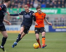 Falkirk's Zak Rubben and Dundee United's Jamie Robson. Falkirk 1 v 1 Dundee United, Scottish Championship game played 23/2/2019 at The Falkirk Stadium.
