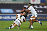 Rhys Webb of the Ospreys © is stopped by Morgan Parra of Clermont Auvergne (9). European Rugby Champions Cup, pool 2 match, Ospreys v ASM Clermont Auvergne at the Liberty Stadium in Swansea, South Wales on Sunday 15th October 2017.<br /> pic by  Andrew Orchard, Andrew Orchard sports photography.