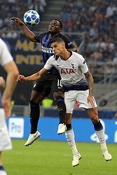 September 18, 2018 - Milan, Milan, Italy - Kwadwo Asamoah #18 of FC Internazionale Milano competes for the ball with Erik Lamela #11 of Tottenham Hotspur during  the UEFA Champions League group B match between FC Internazionale and Tottenham Hotspur at Stadio Giuseppe Meazza on September 18, 2018 in Milan, Italy. (Credit Image: © Giuseppe Cottini/NurPhoto/ZUMA Press)