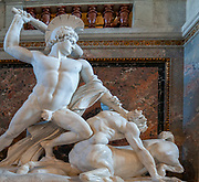 Interior of the Kunsthistorisches Museum (Museum of Fine Arts) in Vienna, Austria. Marble sculpture, Theseus Defeats the Centaur, 1875 by Antonio Canova, grand staircase,
