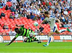 Emmanuel Monthe of Forest Green Rovers is fouled by Cole Stockton of Tranmere Rovers- Mandatory by-line: Nizaam Jones/JMP - 14/05/2017 - FOOTBALL - Wembley Stadium- London, England - Forest Green Rovers v Tranmere Rovers - Vanarama National League Final
