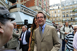 June 16, 2017 - Paris, France - La République en marche » candidate for France's lesgislative elections in Paris Gilles Legendre (C) attend a demonstration on the Place Maubert in Paris, on June 16, 2017, in support of LR candidate in the 2nd constituency of Paris Nathalie Kosciusko-Morizet, who was left unconscious the previous day after a clash with a protestor while out campaigning. Kosciusko-Morizet, widely known by her initials NKM, was insulted by a man while visiting a market in central Paris and then lost her balance when he tried to throw her campaign leaflets in her face, (Credit Image: © Michel Stoupak/NurPhoto via ZUMA Press)