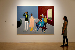 © London News Pictures. 25/09/2017. Hull, UK. Le Rodeur: The Exchange by Lubaina Himid one of four artists shortlisted for Turner Prize 2017 at the Ferens Gallery in Hull, Britain. The exhibition is open to the public from 26 Sep 2017 to 7 Jan 2018. Picture by NIGEL RODDIS/LNP