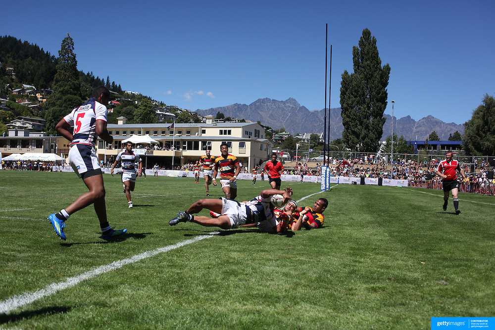 Ed Cocker, Auckland, scores a try against Waikato during the semi final of the Pub Charity Rugby Sevens 2012 New Zealand tournament at the Queenstown Recreation Ground, Queenstown, Otago, New Zealand. 8th January 2012. Photo Tim Clayton