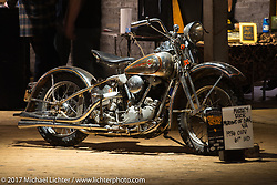 """Massy Bick's 1936 OHV 61"""" Harley-Davidson Bobber from Virginia in the Mama Tried Bike Show. Milwaukee, WI, USA. Saturday, February 18, 2017. Photography ©2017 Michael Lichter."""