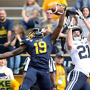 Toledo's Samuel Womack (19), left, bats down a pass intended for Brigham Young's Talon Shumway (21) to deny him a touchdown during a college football game between the University of Toledo and Brigham Young University hosted at the Glass Bowl in Toledo on Saturday, Sept. 28, 2019.