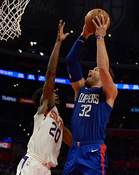 October 21, 2017 - Los Angeles, California, U.S. - Los Angeles Clippers forward Blake Griffin drives to the basket against Phoenix Suns forward Josh Jackson (20) in the second half during an NBA basketball game at the Staples Center on Saturday, Oct 21, 2017 in Los Angeles. .(Photo by Keith Birmingham, Pasadena Star-News/SCNG) (Credit Image: © San Gabriel Valley Tribune via ZUMA Wire)