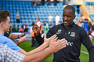 Southend United manager Chris Powell shakes hands with the fans during the EFL Sky Bet League 1 match between Gillingham and Southend United at the MEMS Priestfield Stadium, Gillingham, England on 13 October 2018.