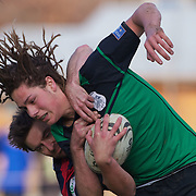 Michael Lamont of Alexandra is tackled by Shane Clearwater of Arrowtown during the Arrowtown V Alexandra Rugby match at Jack Reid Park, Arrowtown, South Island, New Zealand, 25th June 2011