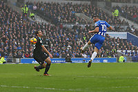 Football - 2017 / 2018 Premier League - Brighton and Hove Albion vs. Chelsea<br /> <br /> Tomer Hemed of Brighton has a header well saved at The Amex Stadium Brighton <br /> <br /> COLORSPORT/SHAUN BOGGUST