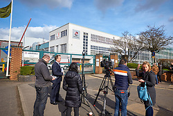 © Licensed to London News Pictures. 06/03/2017. LUTON, UK.  Media gathered outside the Vauxhall plant in Luton. The company has been sold to French carmaker Peugeot-Citroen prompting fears over the future of the factory which currently makes Vivaro vans.  Photo credit: Cliff Hide/LNP
