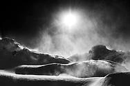 Snowdrift in a foehn storm, Muotathal, Schwyz, Switzerland, Muotathal, Schwyz, Switzerland