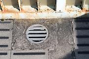 on a pedestrian bridge rainwater drainage Japan
