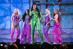 Little Mix with Ms Banks on stage at the Brit Awards 2019 at the O2 Arena, London. Photo credit should read: Matt Crossick/EMPICS Entertainment. EDITORIAL USE ONLY