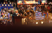 Sen. Ted Kennedy and the teleprompter he is reading from are seen during the Democratic National Committee Convention at the Fleet Center in Boston, MA. 7/27/2004