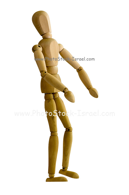 Posed artist manikin on white background looking up with respect