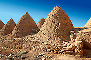 """Pictures of the beehive adobe buildings of Harran, south west Anatolia, Turkey.  Harran was a major ancient city in Upper Mesopotamia whose site is near the modern village of Altınbaşak, Turkey, 24 miles (44 kilometers) southeast of Şanlıurfa. The location is in a district of Şanlıurfa Province that is also named """"Harran"""". Harran is famous for its traditional 'beehive' adobe houses, constructed entirely without wood. The design of these makes them cool inside. 46 .<br /> <br /> If you prefer to buy from our ALAMY PHOTO LIBRARY  Collection visit : https://www.alamy.com/portfolio/paul-williams-funkystock/harran.html<br /> <br /> Visit our TURKEY PHOTO COLLECTIONS for more photos to download or buy as wall art prints https://funkystock.photoshelter.com/gallery-collection/3f-Pictures-of-Turkey-Turkey-Photos-Images-Fotos/C0000U.hJWkZxAbg ."""