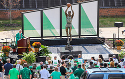 """Oct 9, 2021; Huntington, West Virginia, USA; Marshall University President Jerome Gilbert speaks during a ceremony honoring the life of Harold Everett """"Hal"""" Greer and to reveal a statue of him outside the Cam Henderson Center. Mandatory Credit: Ben Queen-USA TODAY Sports"""