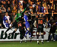 Photo: Paul Greenwood/Sportsbeat Images.<br />Carlisle United v Swindon Town. Coca Cola League 1. 04/12/2007.<br />Swindon goalkeeper Peter Brezovan (L) makes a clearance