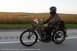 Mark Loewen on his 1912 Excelsior in the Motorcycle Cannonball coast to coast vintage run. Stage 8 (314 miles) from Spirit Lake, IA to Pierre, SD. Saturday September 15, 2018. Photography ©2018 Michael Lichter.